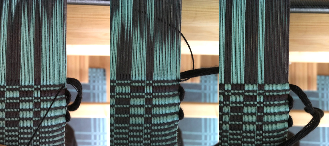 Photograph of the selvedge, showing the three steps of twisting the wefts together to lock in the last warp end.