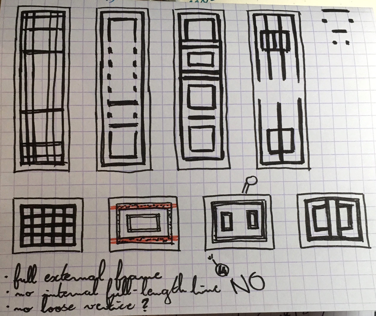 Geometrical sketches in ink on gridded paper. One looks like Bomberman's head and is labeled NO.