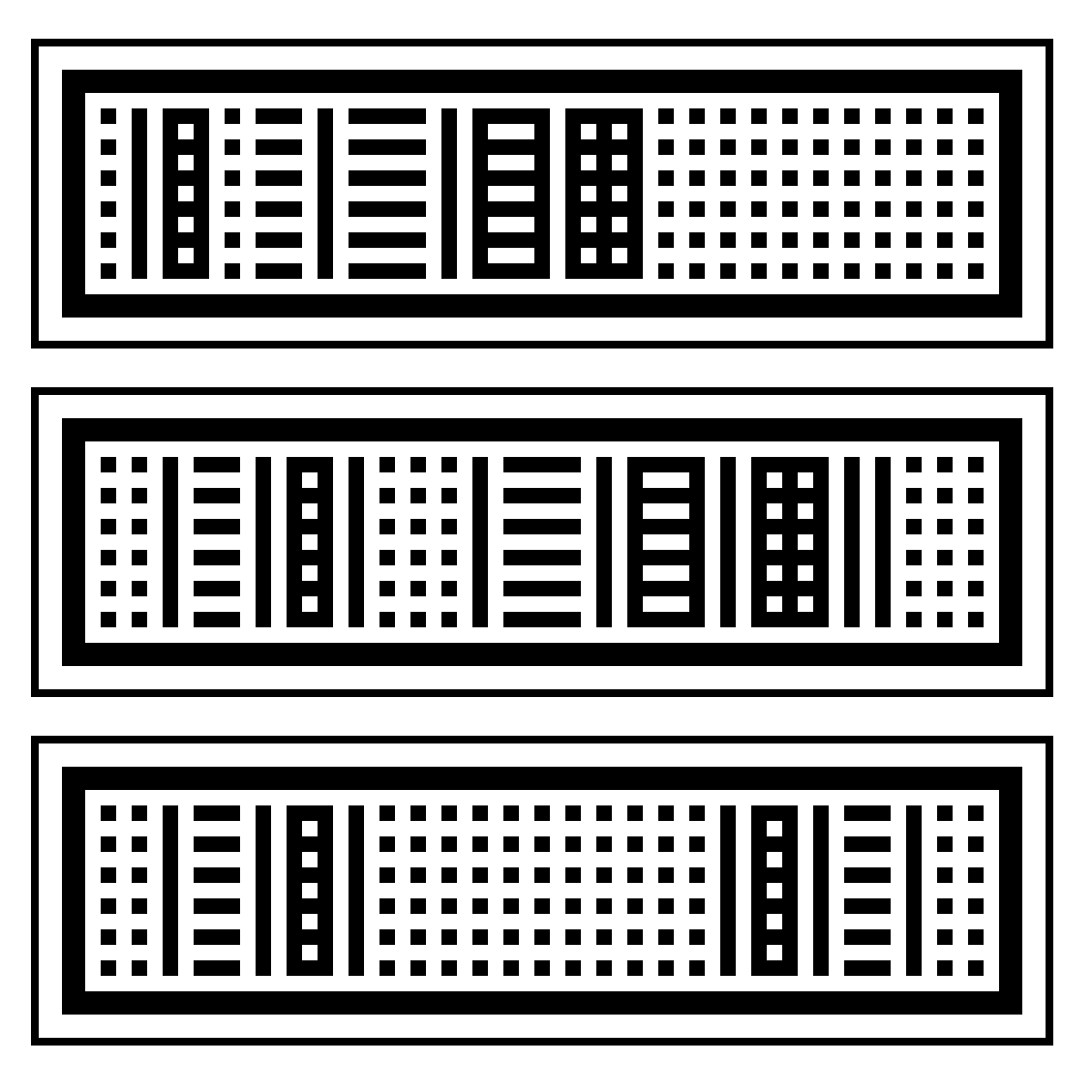 Dotgrid digital sketches in black and white, showing various combinations of lines and dots.